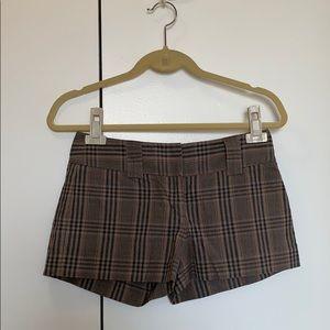 Express plaid editor short shorts